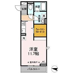 JR東北本線 岡本駅 7.2kmの賃貸アパート 2階1Kの間取り