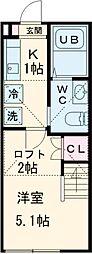 キュステ町田 1階1Kの間取り