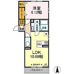 仮)-room加納徳川町Y 2階1LDKの間取り