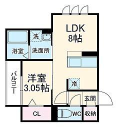 仮)-room加納徳川町Y 3階1DKの間取り