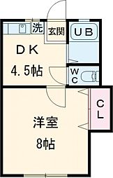 ドーム多摩 N棟 2階1DKの間取り