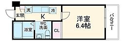 La Maree津田沼 2階1Kの間取り