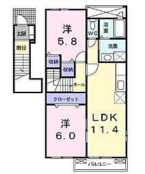 JR予讃線 多度津駅 徒歩25分の賃貸アパート 2階2LDKの間取り