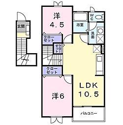 東武小泉線 篠塚駅 5.2kmの賃貸アパート 2階2LDKの間取り