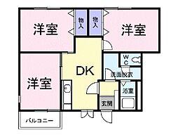 JR常磐線 神立駅 徒歩20分の賃貸アパート 1階3DKの間取り