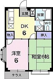 JR高崎線 神保原駅 徒歩29分の賃貸アパート 1階2DKの間取り