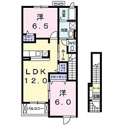 JR両毛線 岩宿駅 徒歩17分の賃貸アパート 2階2LDKの間取り