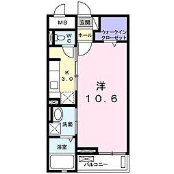 西武新宿線 狭山市駅 バス10分 広瀬消防署下車 徒歩4分の賃貸マンション 2階1Kの間取り