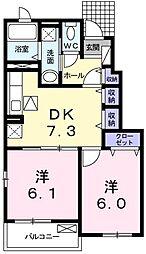 京成本線 公津の杜駅 バス15分 新木戸下車 徒歩6分の賃貸アパート 1階2DKの間取り