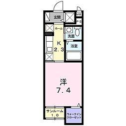 東武東上線 志木駅 徒歩11分の賃貸マンション 1階1Kの間取り