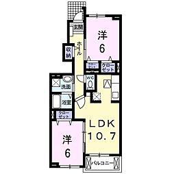 JR東北本線 新白岡駅 徒歩8分の賃貸アパート 1階2LDKの間取り