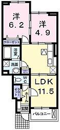 JR成田線 成田駅 バス23分 大清水下車 徒歩3分の賃貸アパート 1階2LDKの間取り