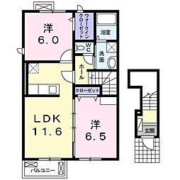 東武伊勢崎線 茂林寺前駅 徒歩20分の賃貸アパート 2階2LDKの間取り