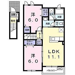 上毛電気鉄道 桐生球場前駅 徒歩14分の賃貸アパート 2階2LDKの間取り