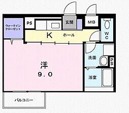 京王線 国領駅 徒歩4分の賃貸マンション 2階1Kの間取り