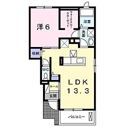 JR東海道本線 鷲津駅 徒歩16分の賃貸アパート 1階1LDKの間取り