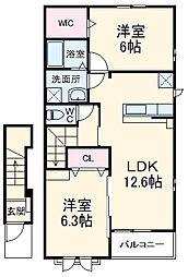 JR東海道本線 二川駅 徒歩23分の賃貸アパート 2階2LDKの間取り