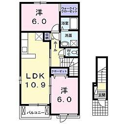 上毛電気鉄道 新里駅 徒歩10分の賃貸アパート 2階2LDKの間取り