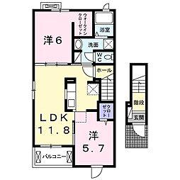 真岡鐵道 久下田駅 徒歩22分の賃貸アパート 2階2LDKの間取り
