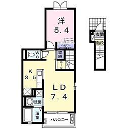 JR東北本線 雀宮駅 徒歩19分の賃貸アパート 2階1LDKの間取り