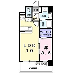 JR篠栗線 柚須駅 徒歩13分の賃貸マンション 2階1LDKの間取り