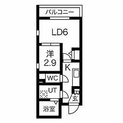 名古屋市営東山線 中村日赤駅 徒歩6分の賃貸マンション 3階1LDKの間取り