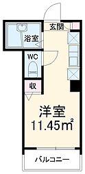 MELDIA津田沼 2階ワンルームの間取り