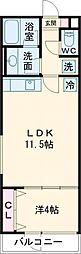 クリフビレッジG棟 1階1LDKの間取り