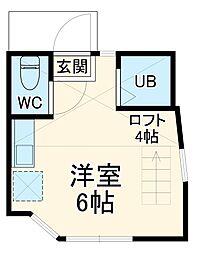 京急本線 京急田浦駅 徒歩8分の賃貸アパート 1階ワンルームの間取り