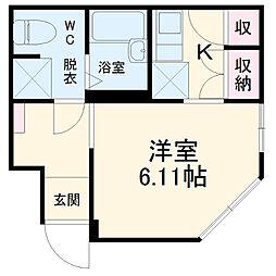 IXO(イクシオ)生麦 1階ワンルームの間取り