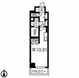 ラミューズ宇都宮 10階ワンルームの間取り