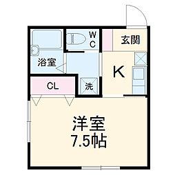 メルヴィーユ新横浜II-B 2階1Kの間取り
