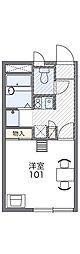 西武国分寺線 鷹の台駅 徒歩18分の賃貸アパート 1階1Kの間取り
