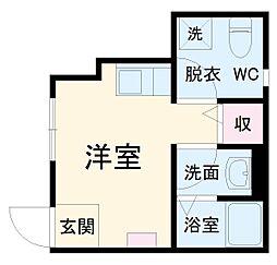mitia terrace 1階ワンルームの間取り