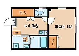 都営浅草線 馬込駅 徒歩9分の賃貸アパート 1階1Kの間取り