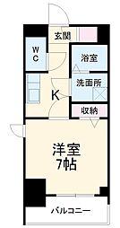 エスリード名古屋STATION WEST 3階1Kの間取り