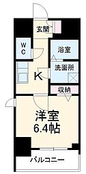 エスリード名古屋STATION WEST 7階1Kの間取り