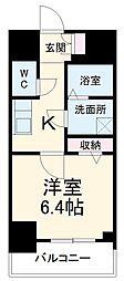 名古屋市営桜通線 中村区役所駅 徒歩9分の賃貸マンション 10階1Kの間取り
