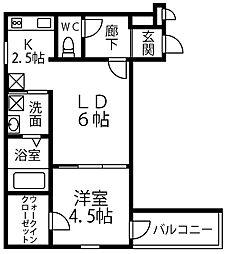 仮称 フジパレス千代田5丁目 1階1LDKの間取り