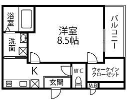 仮称 フジパレス千代田5丁目 2階1Kの間取り