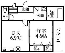 仮称 フジパレス千代田5丁目 3階1DKの間取り