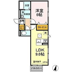 JR常磐線 ひたち野うしく駅 10.4kmの賃貸アパート 2階1LDKの間取り