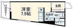 DAYBYDAY FUNABASHI 1階ワンルームの間取り