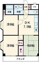 リッジモントゥ鶴牧 6階3DKの間取り