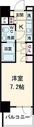 AZESTお花茶屋II 7階1Kの間取り