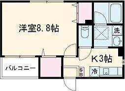 Hikari Place 2階1Kの間取り