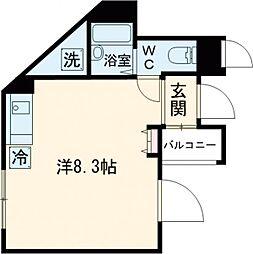 JR中央線 東小金井駅 徒歩2分の賃貸マンション 4階ワンルームの間取り