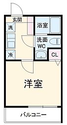 MELDIA中野島 2階1Kの間取り