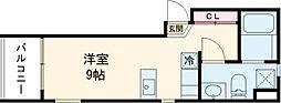 小田急小田原線 梅ヶ丘駅 徒歩10分の賃貸マンション 2階ワンルームの間取り