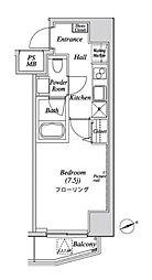 ニューガイア リルーム芝No.28 2階1Kの間取り